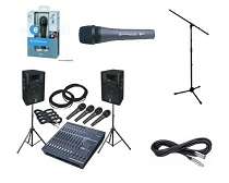 Microphones, mic stands and leads