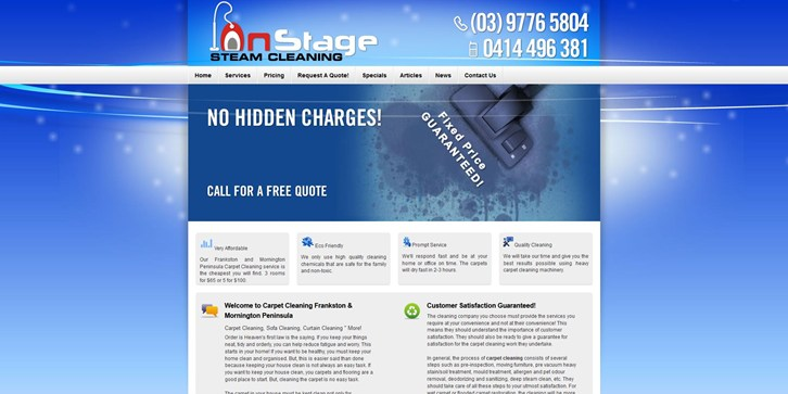 New Website Launched for On Stage Carpet Cleaning!