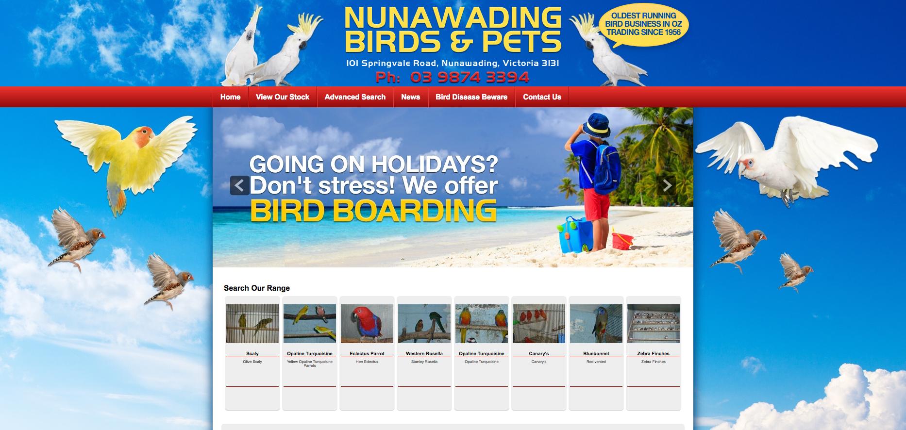 New Website Launched for Nunawading Birds & Pets