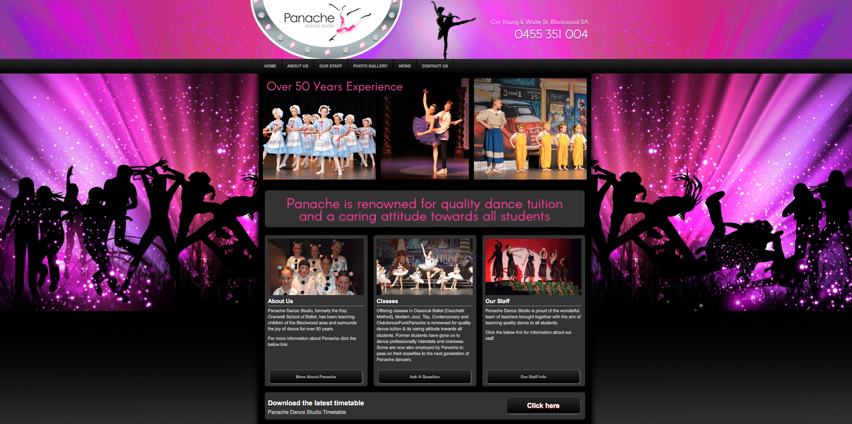 New Website Launched for Panache Dance Studio!